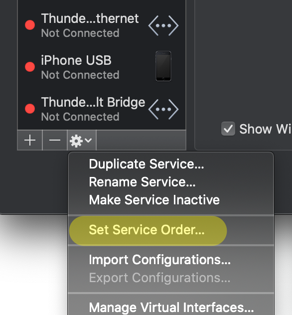 macOS Network System Preferences